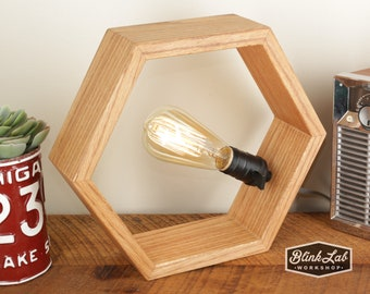 Hexagon Lamp in Natural Oak- Modern Style - Accent Light - Wood Lamp - Wooden Table Lamp - Geometric Shape