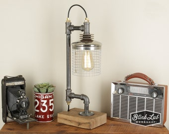 Iron Pipe Lamp with Wood Base - SteamPunk - Industrial - Repurposed - Upcycled - Handmade - Vintage Decor - Edison Bulbs