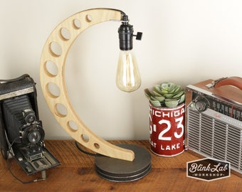 Industrial Crescent Lamp - SteamPunk Style - Accent Light - Wood Lamp - Wooden Table Lamp - Natural