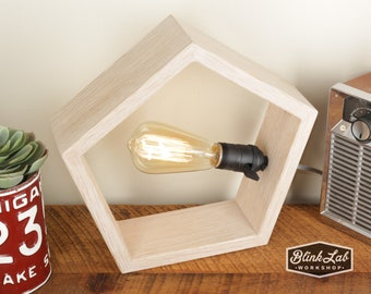 Pentagon Lamp in White Washed Oak- Modern Style - Accent Light - Wood Lamp - Wooden Table Lamp - Geometric Shape