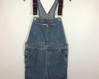 8bb9a2e1 Vintage 90s Tommy Hilfiger Overall Shorties Denim Spellout Womens Large