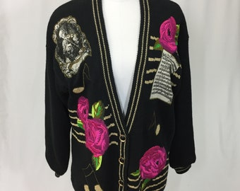Vintage 90s IB Diffusion Cardigan Music Themed Sweater Womens M b8fbc59b0