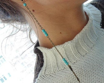 Long Earrings with Arrows and Turquoise.Extra Long Earrings.Turquoise Dangle Earrings.Long chain earrings.Tribal earrings