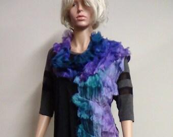 Cabare  scarf felt scarf nuno felting top women shawl wearable art boho scarf fairy shawl wet felt caplet handmade wet felt scarf organic