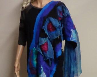 Felt caplet felt scarf nuno felting top women shawl wearable art boho scarf fairy shawl wet felt caplet handmade wet felt scarf organic