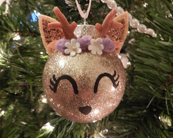 Deer Ornament with flower crown-- Can be customized!