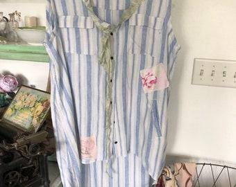 54f4eed9397 Upcycled Sleeveless Tunic Top Bohemian Cotton Womens Clothing Shabby XL