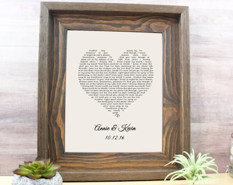 Wedding Gift One Year Anniversary Gift First Dance Love Song Lyrics Personalized Wedding 1st Anniversary Gifts Christmas Wife Gift Idea