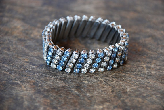 Silver Tone Clear Rhinestone Stretch  Bracelet Expansion Vintage Costume Jewelry Gift Ideas Designer Simple Bridal