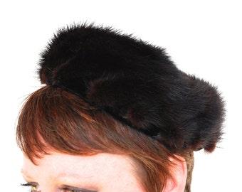 Vintage Mink Pillbox Hat Dark Chocolate Brown Pieced Fur Abraham & Straus Winter Hat Millinery 1950's // Vintage Accessories