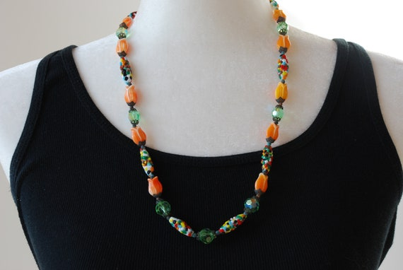 Satz Halskette Ohrringe Art Deco Ohr Jacke Blumen Tulpe Metall Retro