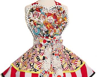 Creepy Clown Pinup Apron/Retro Apron/Woman's Apron/Rockabilly/50s Style/Diner Apron