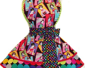 Stunning, One-Of-A-King Geisha Pinup Apron/Retro Apron/Woman's Apron/Rockabilly/50s Style/Vintage Inspired Diner Apron/Hostess Apron/Party