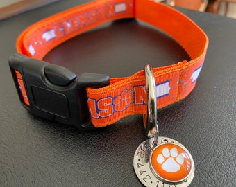Clemson University dog collar buckle or martingale with leash set option