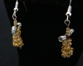 Easter Dangle Earrings Mother's Day Angel Yellow Creme Golden Jewelry Silver Handmade Ready to Ship
