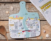 Whitby Map Medium Cutting Board - Melamine Chopping Board - Kitchen Board - Melamine Cutting Board - New Home Gift - Housewarming Gift