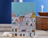 Rooftops Illustration Greeting Card