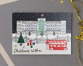 Buckingham Palace Christmas Card Pack - Holiday Card Pack - Christmas Cards Pack - Illustrated Christmas Card - Gift for London lover
