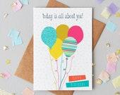 Birthday Balloon Greeting Card