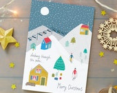 Christmas mountain scene Card Pack - Christmas Cards - Holiday Card Pack - Christmas Card Pack - Illustrated Christmas Card - Skiing Card