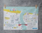 Whitby Tea Towel Towel - North Yorkshire art - Whitby art - Coastal town art - Illustrated tea towel - Whitby jet - Whitby abbey