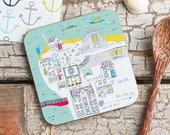 Whitby Coaster - Whitby Abbey Melamine Coaster - North Yorkshire Coaster - Cork backed coaster - Coastal Coaster - Seaside Coaster