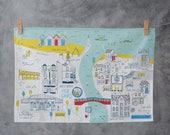 Whitby Tea Towel - North Yorkshire art - Whitby art - Coastal town art - Illustrated tea towel - Whitby jet - Whitby abbey