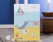 Beach Scene blank greetings card. Coastal greeting cards. Coastal art cards. Illustrated greeting cards. Seaside themed cards. Stylish cards