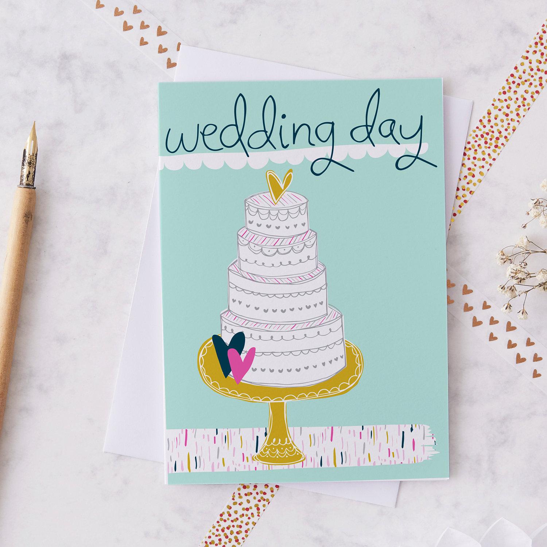 Wedding Day Greetings Card Modern Wedding Card Cute Wedding Etsy