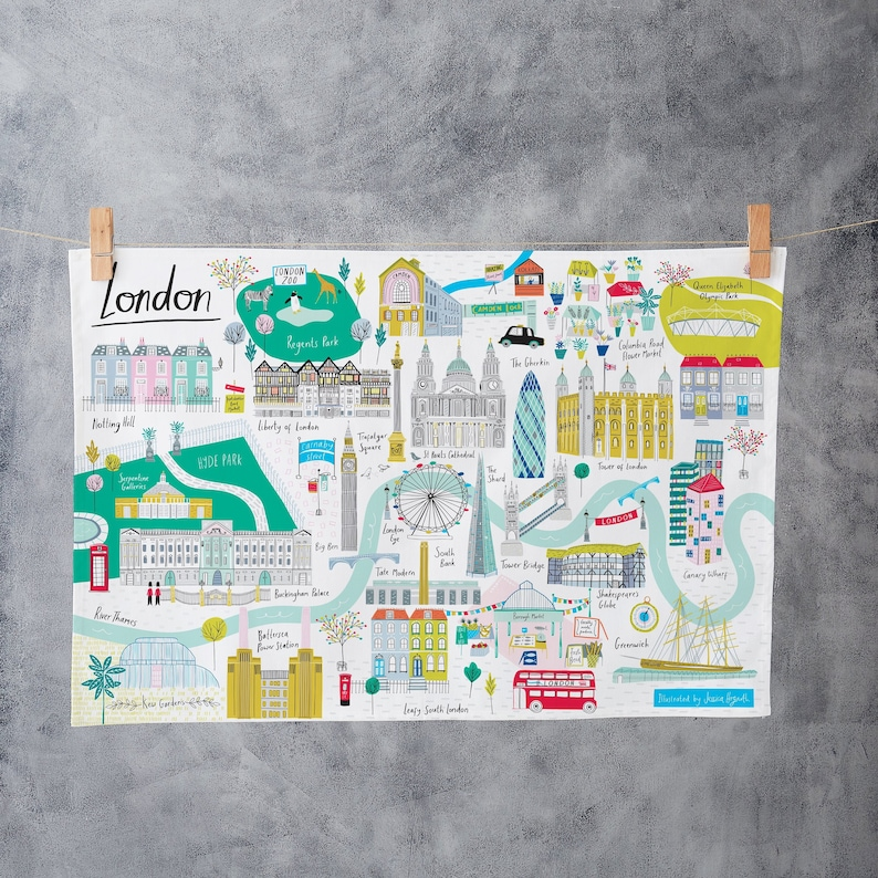 London Landmarks Map.London Map Tea Towel