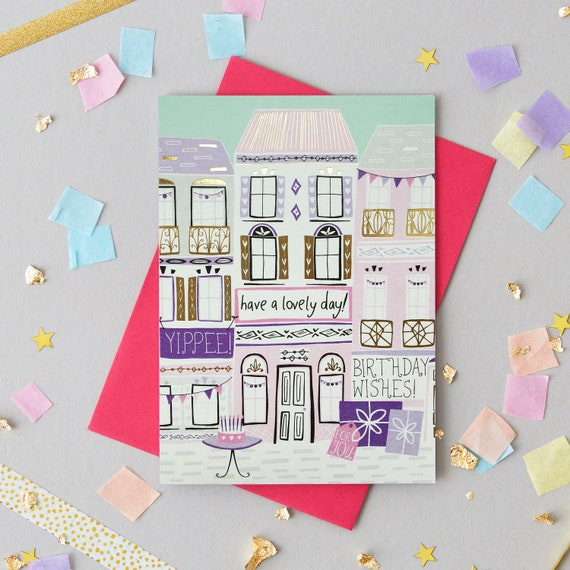 Pretty Female Birthday Card Gold Foiled Card Contemporary Etsy