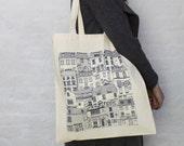 Coastal Cottages tote bag - reusable grocery bag -  Coastal fabric - Illustrated tote bag - reusable shopper bag - tote bag - coastal art