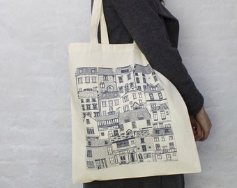 Coastal Cottages tote bag -  reusable shopper bag - reusable grocery bag -  Coastal fabric - Illustrated tote bag - tote bag - coastal art