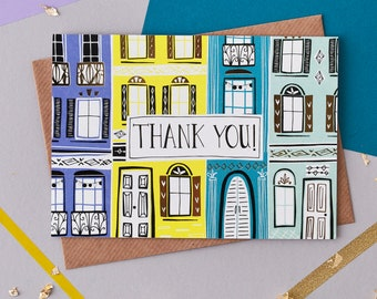 Thank you Greeting Card. Thanks. Card to say thank you. Thank you very much. Modern greetings card.