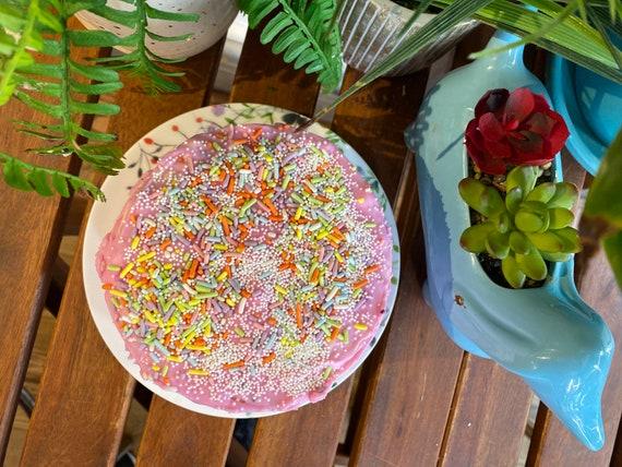 "Vegan Vanilla Pink Raspberry rainbow sprinkles cake 5""-6"""