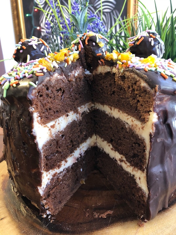 "Vegan Gluten Free Chocolate Vanilla speinkles    birthday cake 8"""
