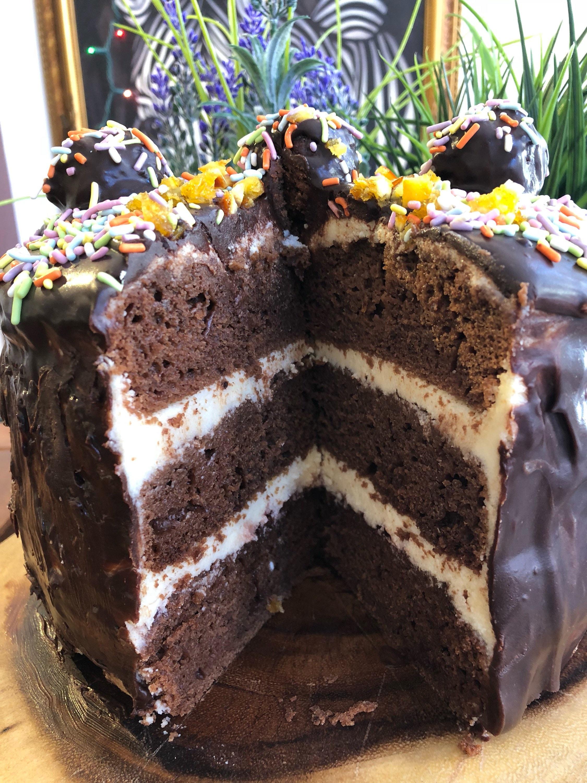 Amazing Vegan Gluten Free Chocolate Vanilla Speinkles Birthday Cake 8 Funny Birthday Cards Online Hendilapandamsfinfo