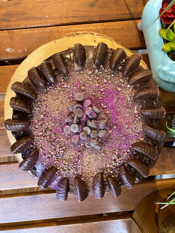 "Vegan double  chocolate black currant chocolate cream birthday cake 8""!"