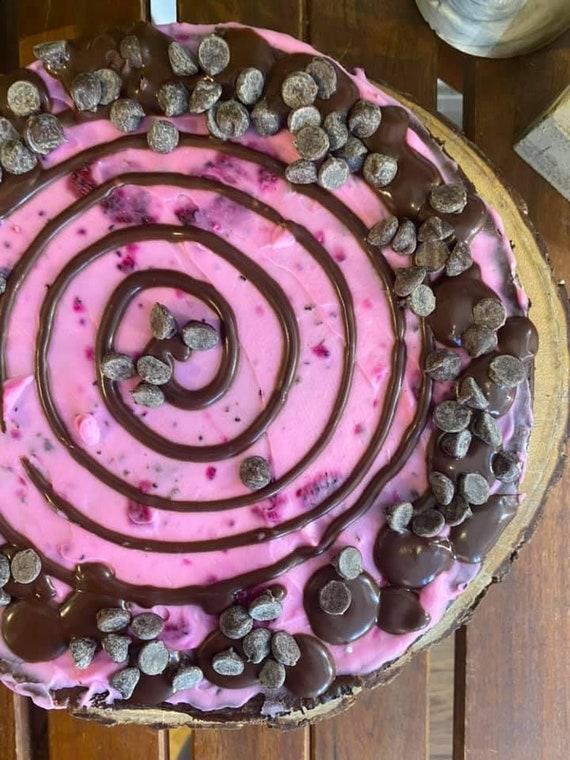 """Vegan Gluten Free  Chocolate pink chocolate chip  cheesecake  8"""""""