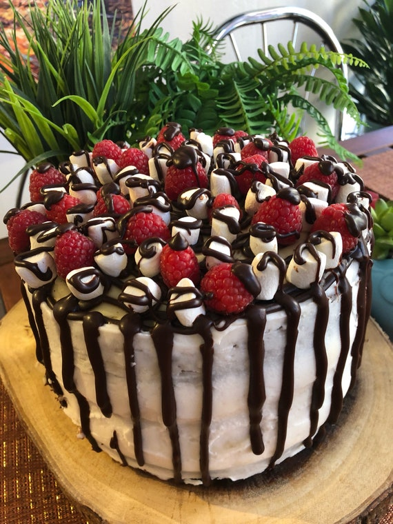 Vegan Vanilla raspberry  marshmallow  chocolate Cake  8""