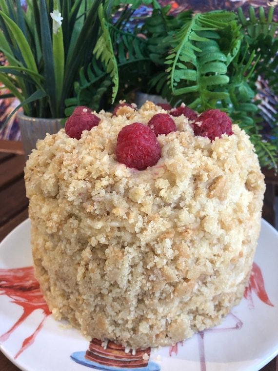 """Vegan Vanilla Raspberry  crumb birthday Cake  5"""""""