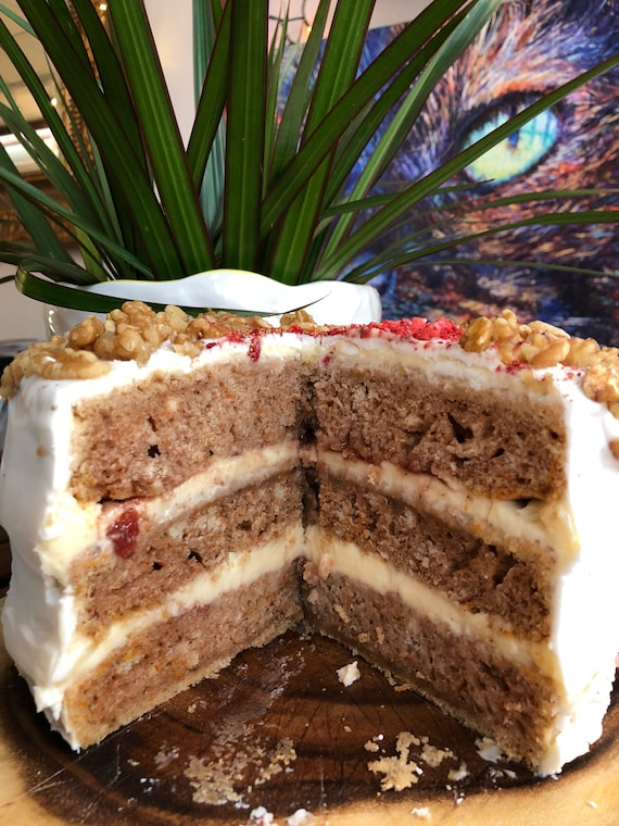Vegan Carrot walnut strawberry vanilla  cake 8""
