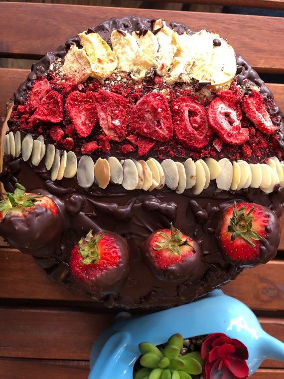 Vegan Vanilla Chocolate almond strawberry birthday cake 8""