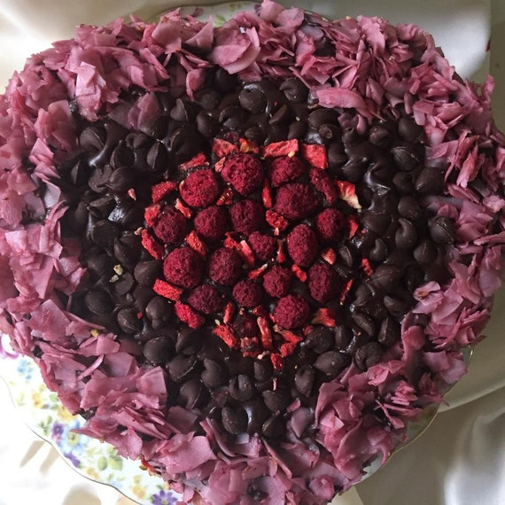 Vegan Dark  Chocolate chips raspberry coconut walnut carmel Love cake!