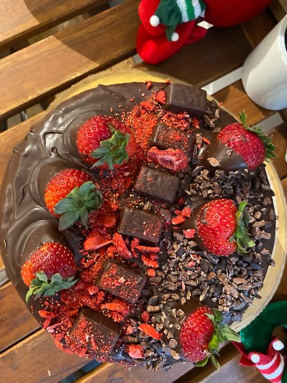 """Vegan  chocolate vanilla cream strawberry chocolate chips birthday cake 8"""""""