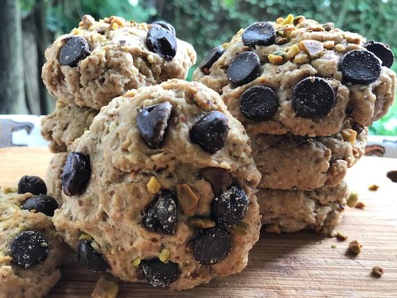 Vegan Chocolate Chip  Pistachio  cookies 10 pieces! Spelt Flour, Pistachio and Almond Flours!