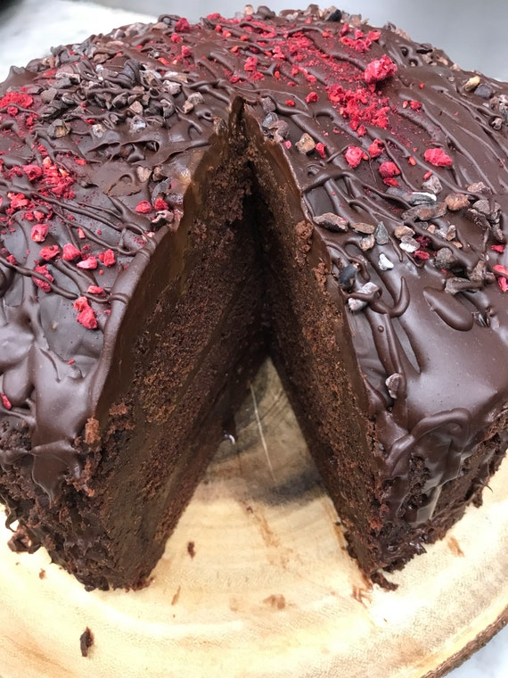 Vegan Dark Chocolate Mocha  Raspberry cake!