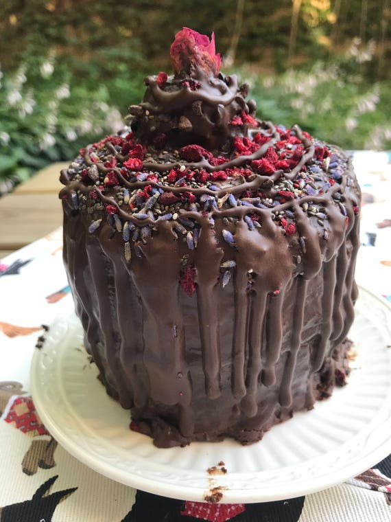 Vegan Gluten Free  Chocolate Vanilla Lavender Raspberry  Mini birthday cake!