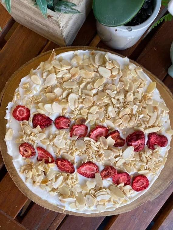 "Vegan Gluten Free Vanilla Almond Strawberry    cheesecake  8"""