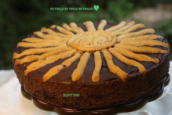 Vegan Gluten Free Chocolate Sunshine cheesecake, love, animal free cruelty,no eggs,no dairy.
